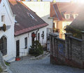Picture of narrow street in praha small Royalty Free Stock Images