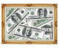 Picture in the old golden frame - money - dollars Royalty Free Stock Photo