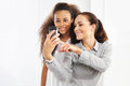 Picture phone friendship friends learn to read message Stock Photos