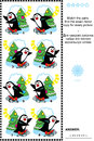 Picture puzzle find the mirrored copy for every skating penguin image christmas or new year visual match pairs exact mirror of and Stock Photography