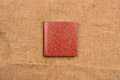 Picture of reddish brown leather photo album cover on jute backg Royalty Free Stock Photo