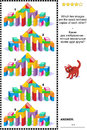 Picture riddle - find two mirrored copies of toy tower gates images Royalty Free Stock Photo