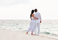 Picture of romantic young couple on the sea shore Royalty Free Stock Photo