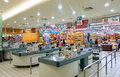 This picture shows a supermarket entrance and cashier desk in china guangxi Stock Photo