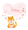 Picture singing cartoon cat and bubble for your text in heart shape.