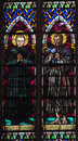 Picture on stained glass in the church Royalty Free Stock Photo