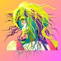 Picture of a sunny girl with loose hair in vector Royalty Free Stock Photo