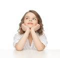 Picture thinking pre teen girl casual clothes Stock Photo