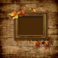 Picture vintage frame on a wooden background Royalty Free Stock Image