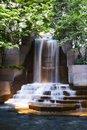 Image : Waterfall in the middle of a fountain in Charlotte North Carolina  waterfront of
