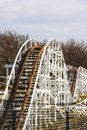White wooden roller coaster Royalty Free Stock Photo