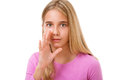 Picture of young girl whispering gossip.Isolated