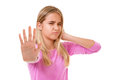 Picture of young lovely girl making stop gesture. isolated