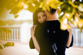 Picture of  young romantic couple hugging in the park Royalty Free Stock Photo