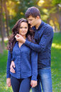 A picture of a young romantic couple in the park Royalty Free Stock Photo