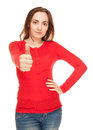 Picture of young woman showing thumbs up in red blouse Royalty Free Stock Photos