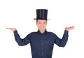 Pictures of cheerful man in top hat cylinder brightly Stock Image