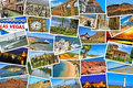 Pictures of different places and landscapes shot by myself sim mosaic with simulating a wall snapshots uploaded to social Royalty Free Stock Photo