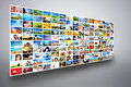 Pictures display on wide modern monitors screens forming a multimedia broadcast big all photos are mine concepts of television Royalty Free Stock Images