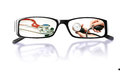 Pictures on the glasses with a medical theme paintings and mirror image white background Royalty Free Stock Photo