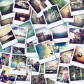 Pictures of holiday mosaic with different places and landscapes snapshots uploaded to social networking services Royalty Free Stock Photo
