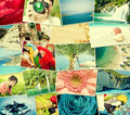 Pictures of holiday mosaic with snapshots uploaded to social networking services Royalty Free Stock Photography