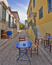 Picturesque alley and coffee shop in plaka athens greece Royalty Free Stock Photography
