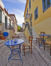 Picturesque alley and coffeehouse athens greece in plaka Royalty Free Stock Images