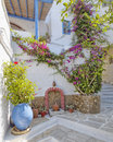 Picturesque alley in a mediterranean island greece Royalty Free Stock Photography