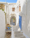 Picturesque alley in a mediterranean island greece Stock Photography