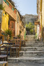 Picturesque alley at plaka leads to acropolis. Royalty Free Stock Photo