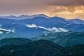 Picturesque Carpathian mountains landscape, view of the mountain ridges, Ukraine. Royalty Free Stock Photo