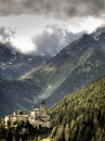 Picturesque castle and mountains Stock Photography