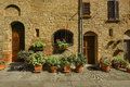Picturesque corner of a quaint hill town in italy pienza tuscany Royalty Free Stock Photo