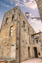 Picturesque corner in volterra tuscany italy a with an old tall palace the old town of Stock Photo