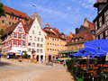 Picturesque German city square Royalty Free Stock Photo