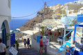 Picturesque greek island summer streets santorini summertime narrow picture taken on september th at fira santorini greece Royalty Free Stock Photography