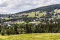Picturesque hills surrounding koscielisko houses fields and forests the near zakopane Stock Images