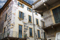 The picturesque house with murals on the street via arche scalig scaligere in verona italy Royalty Free Stock Photos