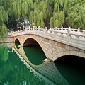 Picturesque landscape, stone bridge and river Royalty Free Stock Image