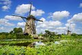 Picturesque landscape with windmills kinderdijk rural the netherlands Stock Image