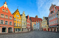 Picturesque medieval gothic houses in old bavarian town by Munich, Germany Royalty Free Stock Photo