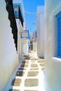 Picturesque mykonos pretty whitewashed street in the old town of greece Royalty Free Stock Photography