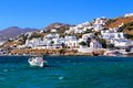 Picturesque mykonos vibrant harbor at the town of greece Royalty Free Stock Photography