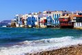 Picturesque mykonos view of the little venice district of greece Royalty Free Stock Images