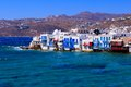 Picturesque mykonos view over the town of greece Royalty Free Stock Photography