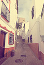 Picturesque narrow street in european city. Olvera Royalty Free Stock Photo