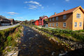 Picturesque Norwegian smelting village with river Royalty Free Stock Photography