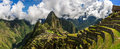 Picturesque panoramic view of terraces of Machu Picchu. Royalty Free Stock Photo