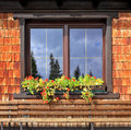 Picturesque popular cafe window dachstein huge tourist complex in austrian alps with flower pots Royalty Free Stock Image
